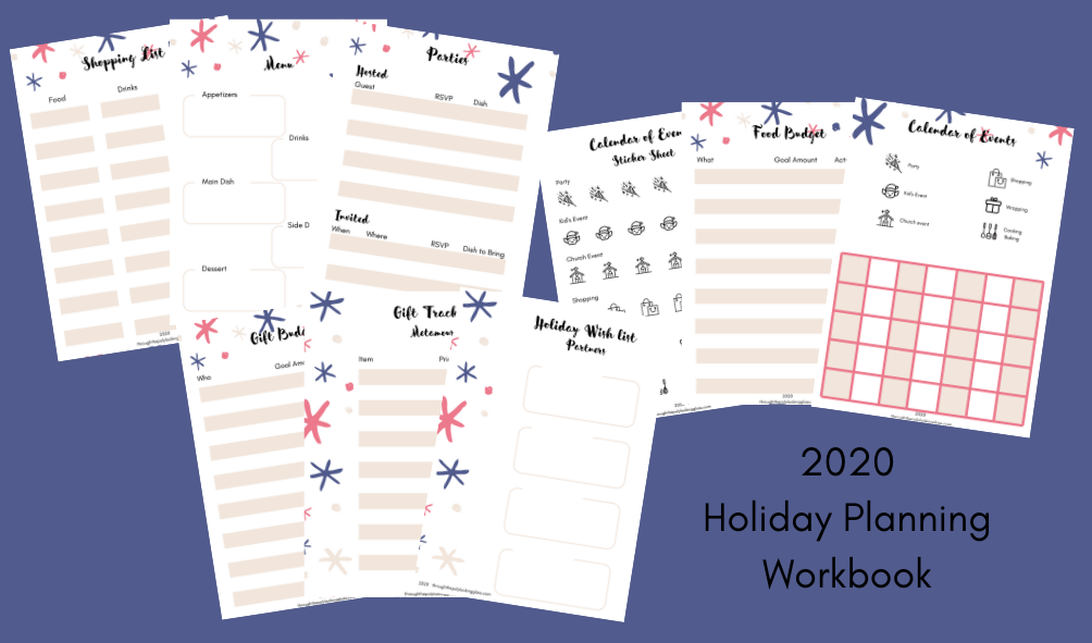 Photo of the pages available in the 2020 holiday planning workbook.